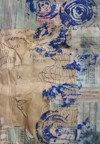 Onion print of thick collaged page.