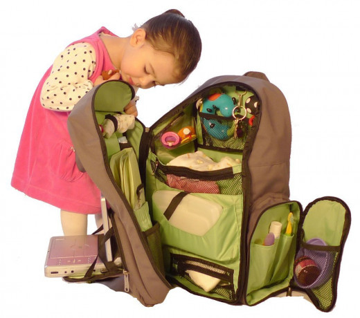 Spacious backpack diaper bag