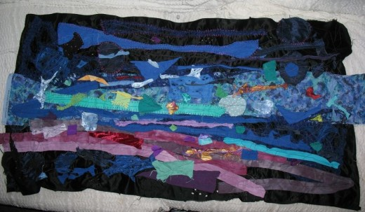"""This is one of my unfinished textiles pieces that I'd be interested in turning into a """"Space Exploration"""" Story Mat."""