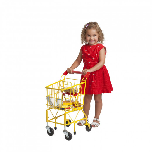little girl is pushing a toy shopping cart