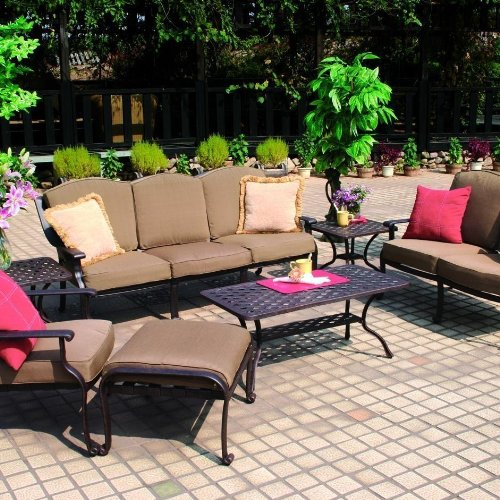 Darlee 6 Person Cast Aluminum Patio Conversation Set