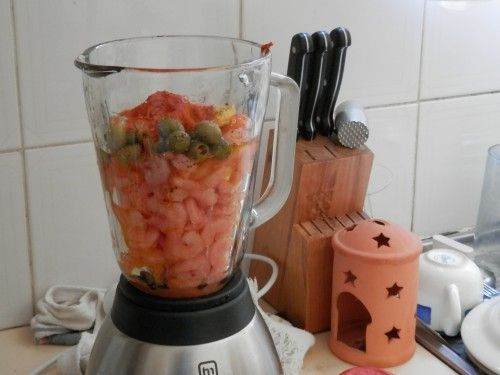 Get your liquids in the blender first and put the shrimp in bit by bit. Don't do what I did here.