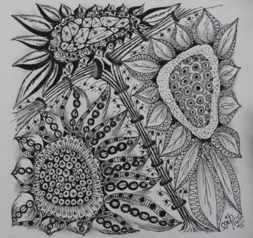 Sunflower Zentangle-Inspired