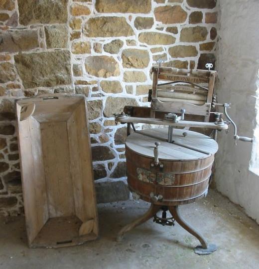 Antique washing machine with mangle