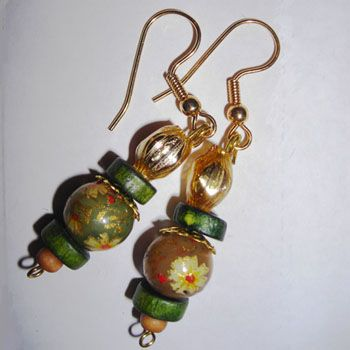 Jezebel Painted Wood Bead Earrings
