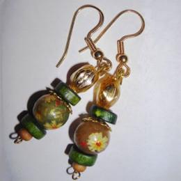 Jezebel Painted Wood Bead Earrings