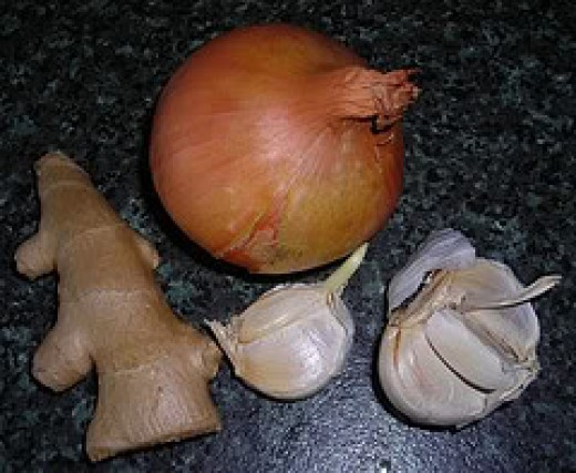 Onion, ginger and garlic