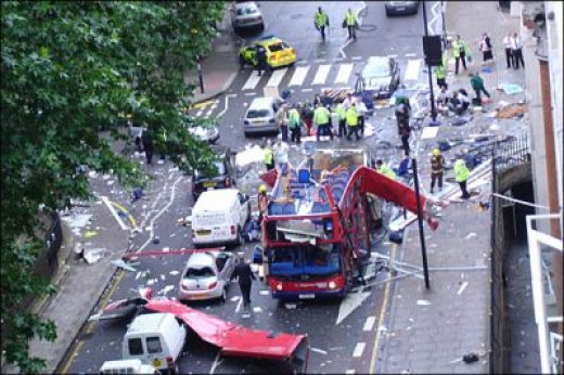 Bus bomb in Tavistock Square 7/7/05