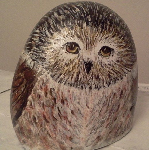 Owl painted on stone - for a little girl who loves owls.