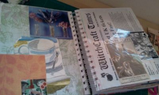 Remnants of old sketchbooks find their way into my junk journal. I painted that cup and saucer many moons ago.
