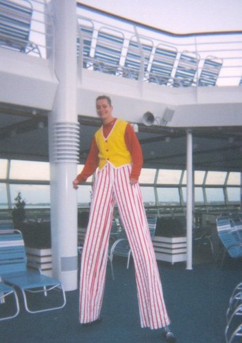 Stilt walking entertainer on the Mariner of the Seas cruise ship
