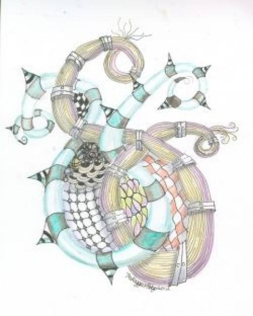 Watercolor pencil Zentangle