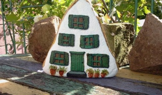Stone Painting - Swiss Cottage