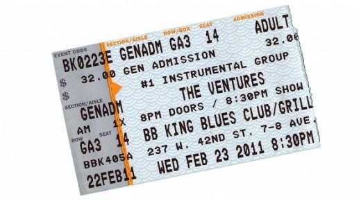 The Ventures concert ticket 2011 New York City