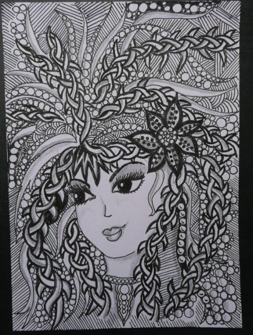 Zentangle Rapunzel contributed by KNM