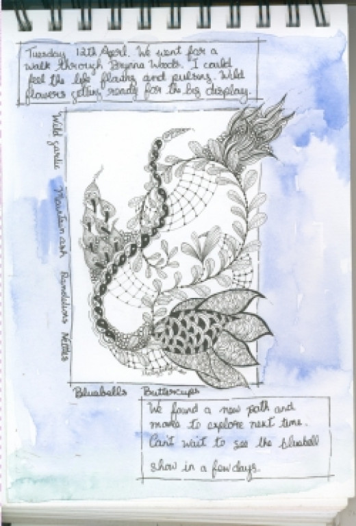 Zendoodle with watercolor