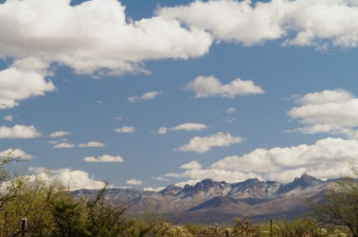 Santa Rita Mountains. Look closely for snow in the crevices.
