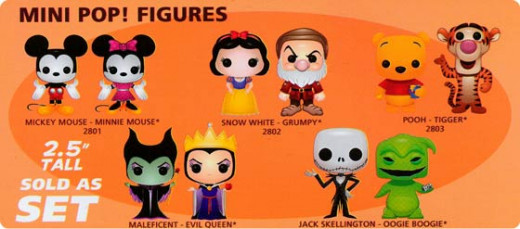 Five different sets of new mini figures from Funko Pop! - perfect size for stocking stuffer gifts. Get individual 2-packs, or a complete set of all 10 Mini-Pop! figures.
