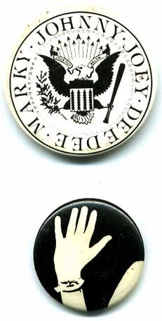 Pin-back buttons for the Ramones and Patty Smith's
