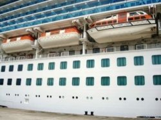 Life boats, hanging on the side of a Cruise Ship