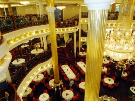 A partial view of the Main Dining Room on Freedom of the Seas