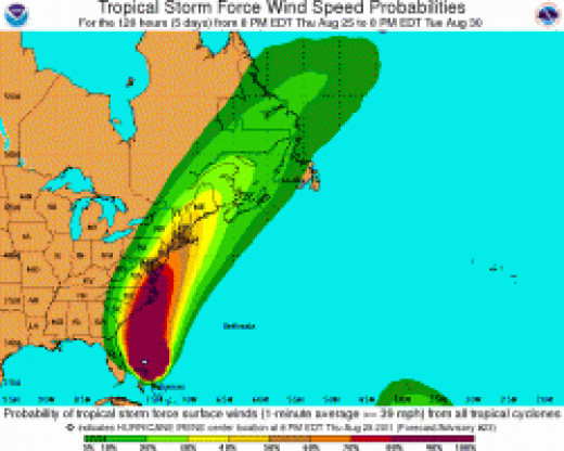 Irene Wind Probabilities chart on August 25