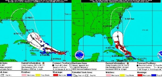 Hurricane Irene Cone on two different days