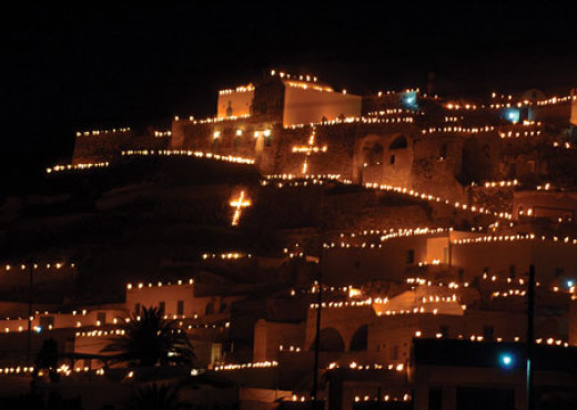 Kastelli, Emporeio by night during the Greek Easter celebrations