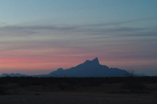 Santa Cruz Flats is near Picacho Peak. This is the other side of Picacho Peak, not visible from the highway, at sunset.