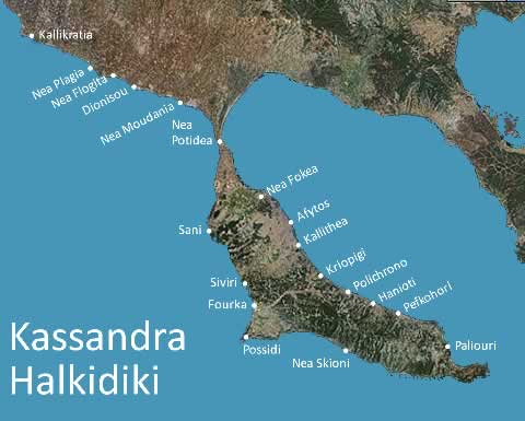map of Kassandra Peninsula, Halkidiki Greece