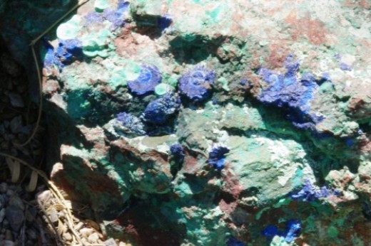 Malachite (green) and Azurite (blue) from an Arizona mine, possibly the Bisbee mine.
