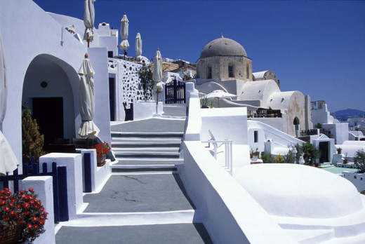 Fira Santorini. Great traditional Cycladic architectural style.