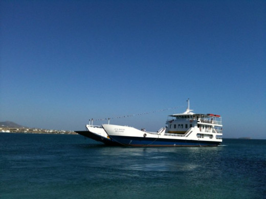 Antiparos Greece. Ferries connecting the island with Paros daily