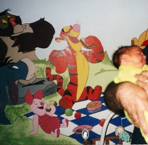 How to paint a wall mural in your child 39 s room hubpages for Baby pooh and friends wall mural