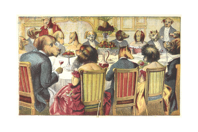 Rather than a photo of a community dinner in that town, I thought you might like to see this cute vintage dog party.