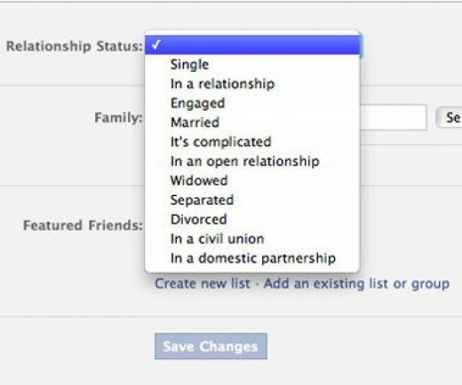 The various status options for relationships on Facebook.