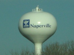 Naperville Water Tower with city's logo