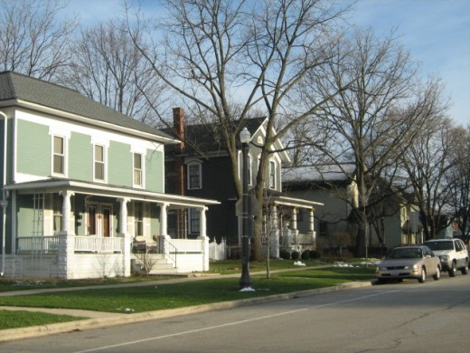 Houses on a block of the historic part of Naperville