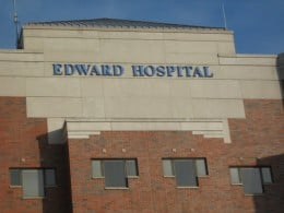 Naperville's Edward Hospital at the south end of the downtown area