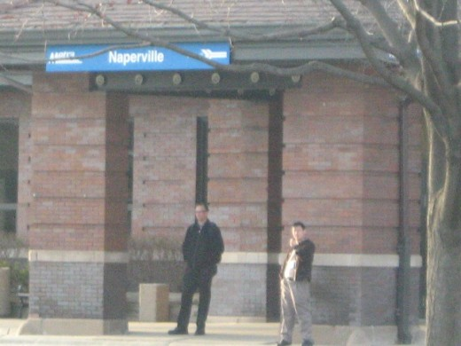 The Metra Train Station at the north end of Naperville's downtown area