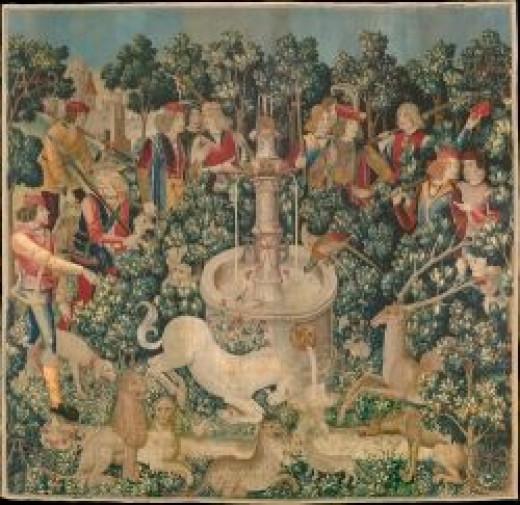 "The Unicorn is Found, one of the series of seven tapestries ""The Hunt of the Unicorn"""