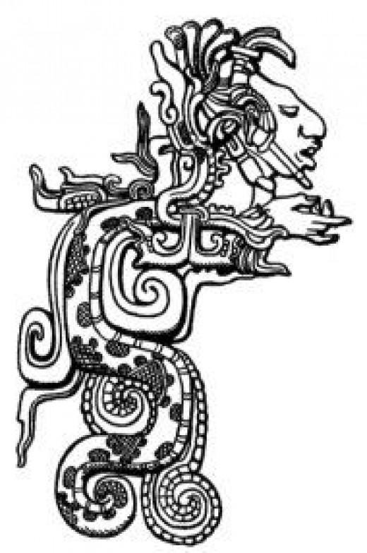 Image of Kukulkan at the Classic Maya site of Yaxchilan