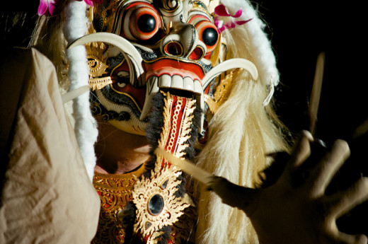 Rangda is often represented in costumes during ritual dances that symbolize the battle of good vs. evil.