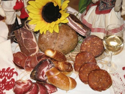 Homemade kulen, ham and sausage