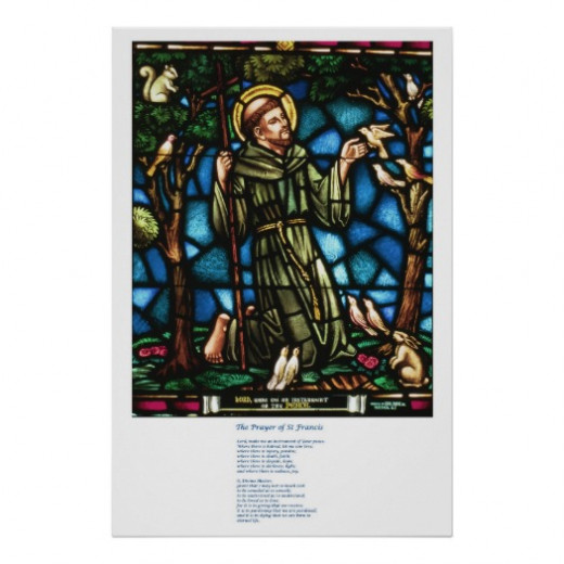 This gorgeous image is St Francis and the St Francis Peace Prayer by neilepi I love the old fashioned stained glass window design.