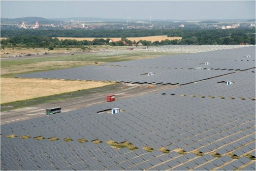 Solar powered electricty generation on a large scale in Waldpolenz, Germany. Photo courtesy of JUWI Group