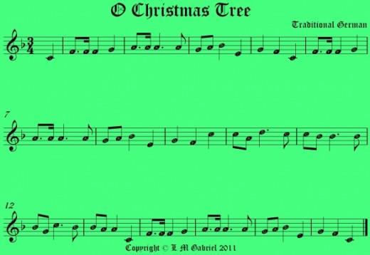 O Christmas Tree music notes