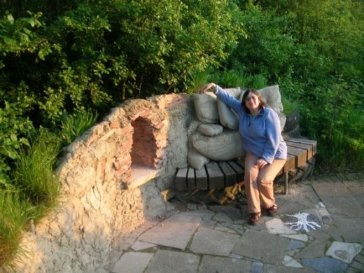 Lisa finds the sofa is surprisingly comfortable and lounges happily in the grotto - minus TV of course.... All the building work is thanks to Richard and his friends. Thank you particularly to Jamie Hawker for materials and advice!