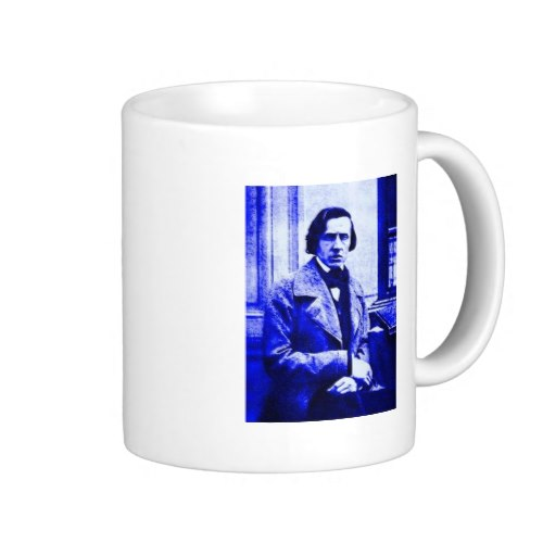 I thought it would be nice to make a customizable mug with Chopin's image on it. Since then I have done a few more Chopin gifts on Zazzle and other designers have also produced a great variety.