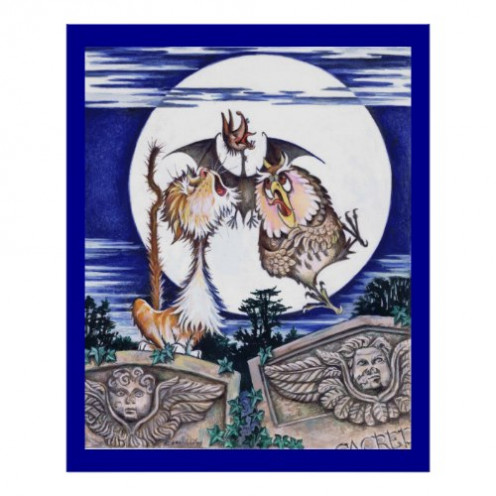 The Cat the Bat and the Owl is one of the striking illustrations Colin Mason produced for his book, a full colour illustrated and illuminated narrative poem called The Cat the Bat and the Burglar.